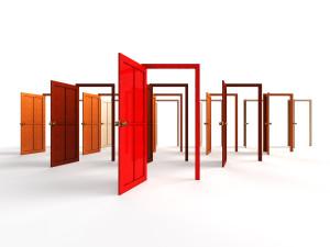 Amy Open doors - a series of red open doors
